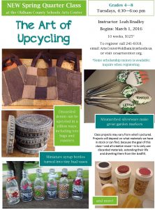Upcycled crafts flier