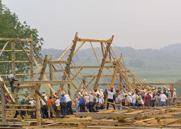 actual barn raising