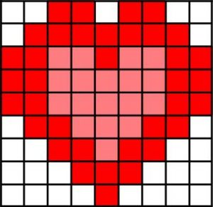 fuse bead pattern.2 tone heart